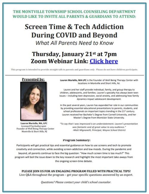 The Montville Township Public Schools Counseling Department invites all parents and guardians to attend a program on Thursday, January 21, 2021, at 7PM