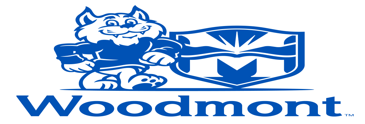 Woodmont School wildcat mascot with District seal