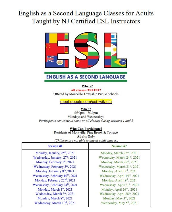 FREE ESL Classes for ADULTS - ONLINE - every Monday & Wednesday from Jan 25-Mar 10 at 5:30PM