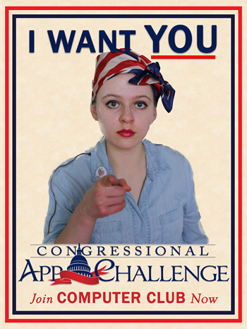 Bazhenov, who is a Co-President of the MTHS Computer Club, was also the model for the poster that was used to promote the Congressional App Challenge that encouraged MTHS Computer Club members to participate in the 2020 contest.
